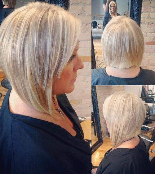 Edgy blonde bob with straight-line back and disconnected layers