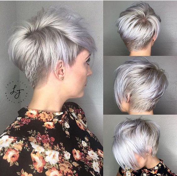 #1. Silver Stacked Short Haircut – Shaved Hairstyle for Women