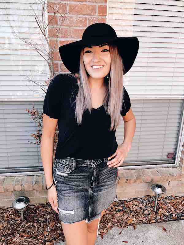 Floppy Hat With Jean Skirt