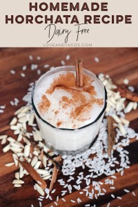 This Homemade Horchata Recipe is the perfect mixture of sweet and cinnamon. It's dairy free and oh so refreshing for your summer days!