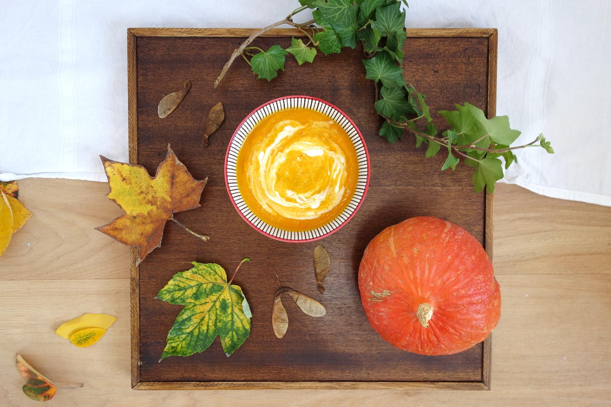 Soupe d'automne potimarron, lentilles corail, patate douce