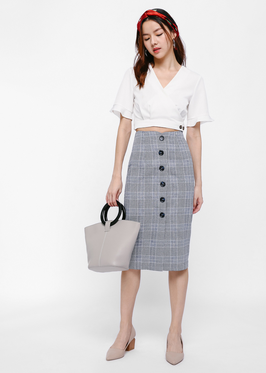 Hristo Plaid Pencil Midi Skirt
