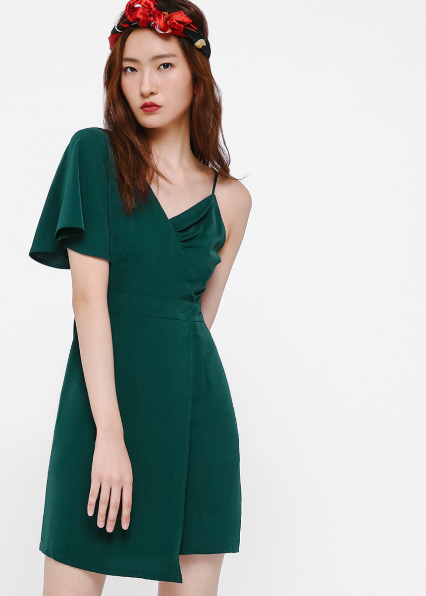 Lyra Asymmetrical Sleeve A-line Dress