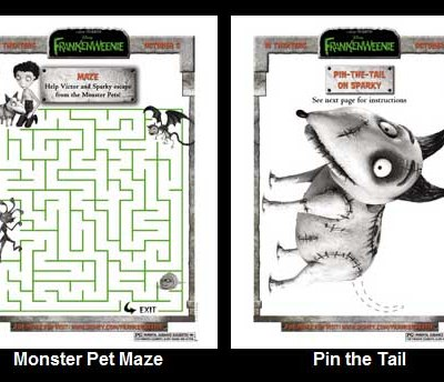 FRANKENWEENIE Activity Sheets