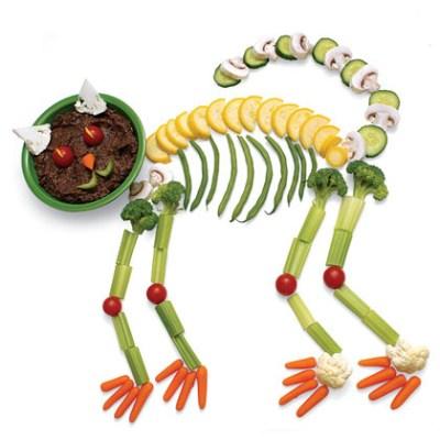 Halloween Veggie Skeleton Cat with Black Bean Dip Recipe