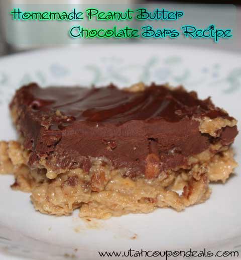 Homemade Peanut Butter Chocolate Bars Recipe
