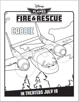 Fire: Planes and Rescue Coloring Pages - Cabbie