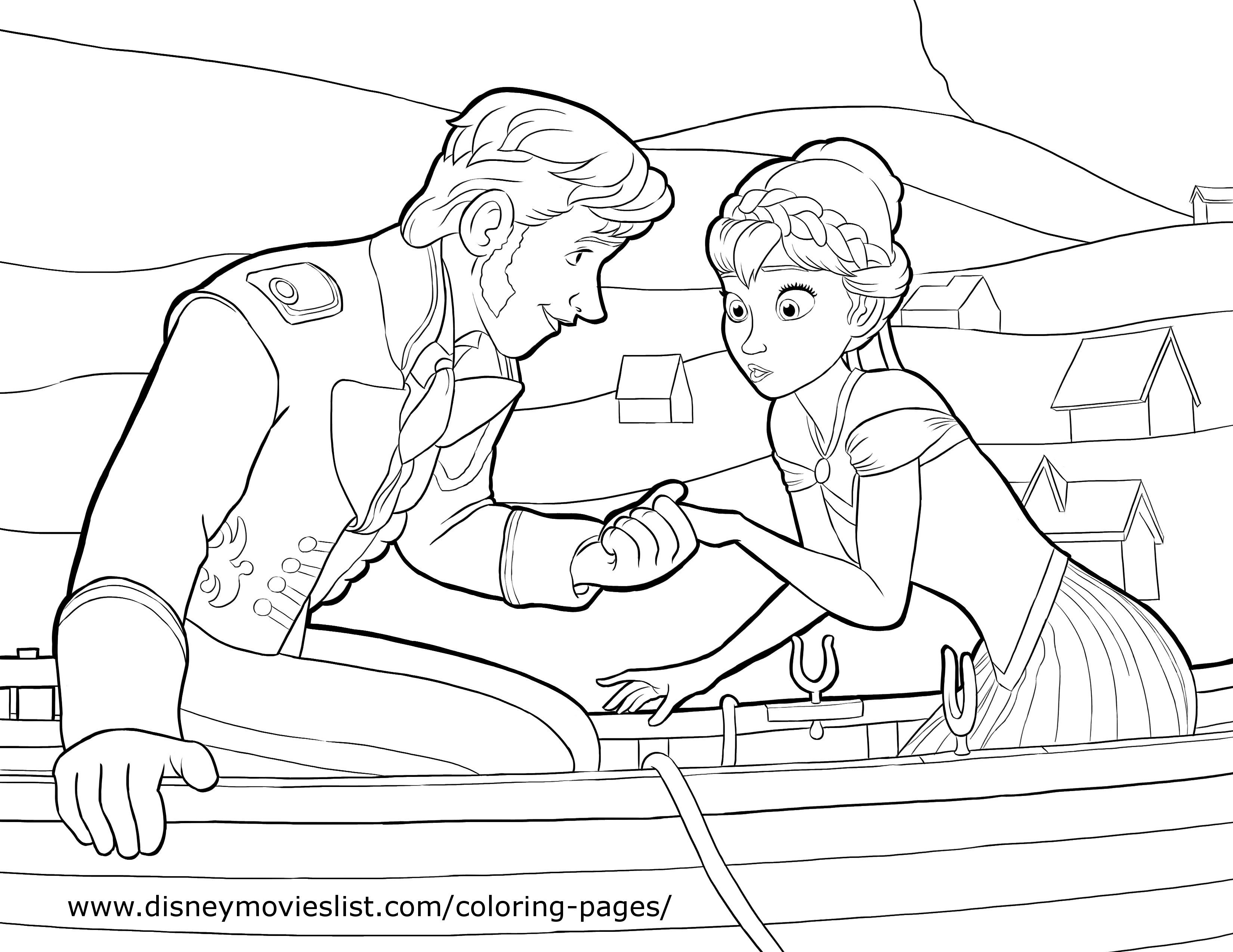 FROZEN Anna Prince Hans Coloring Page