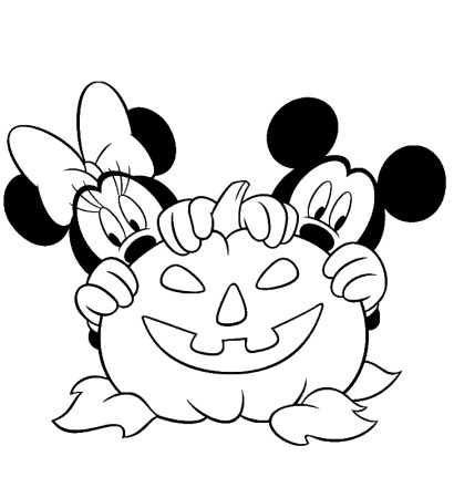Minnie & Mickey Mouse - Free Disney Halloween Coloring Pages