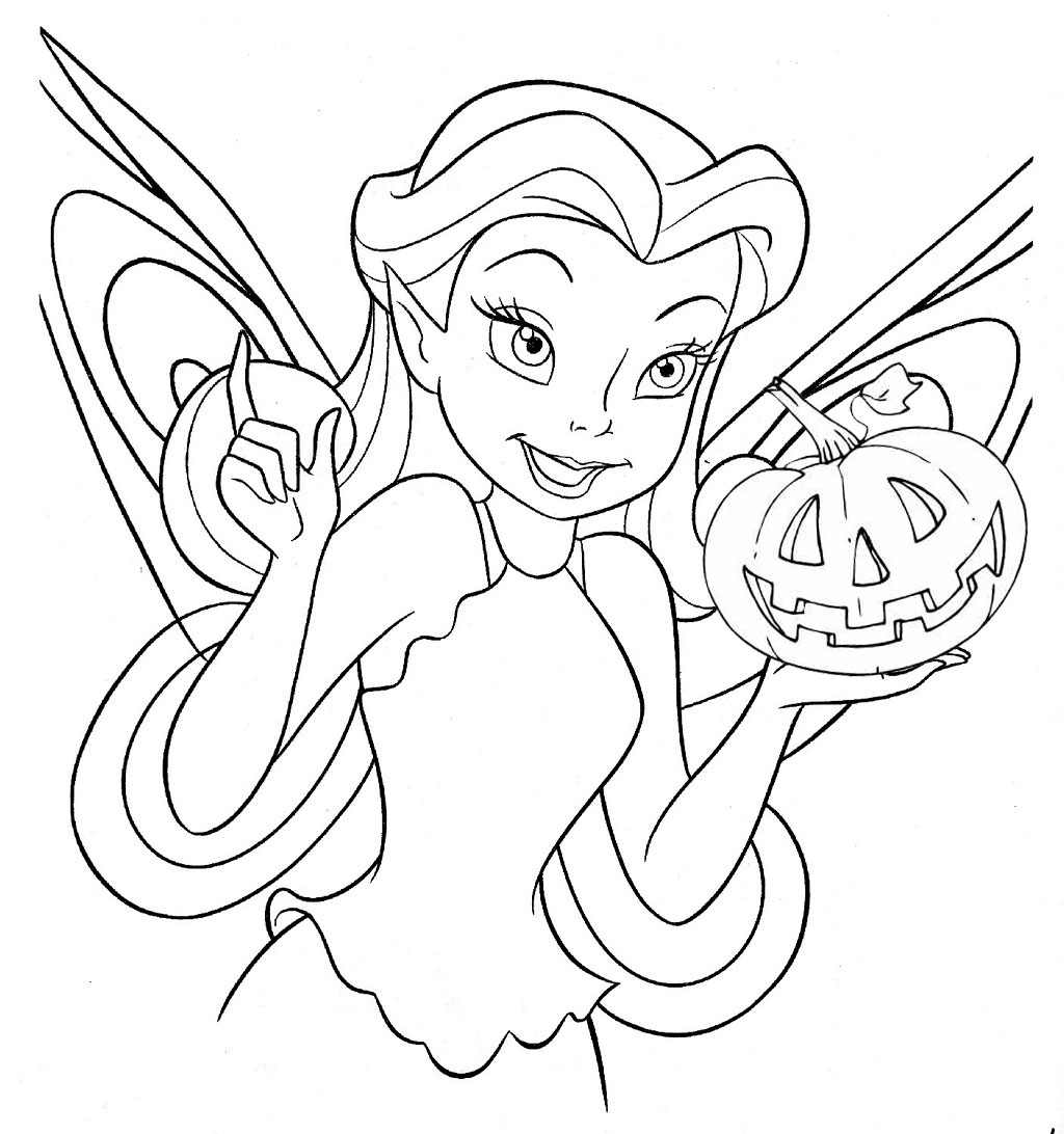 Tinkerbell - Free Disney Halloween Coloring Pages - Lovebugs and ...
