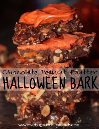 Halloween Bark {Chocolate Peanut Butter}