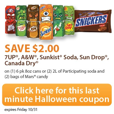 HOT! $2 Soda and Candy Coupon. Print NOW! #ScarySavings