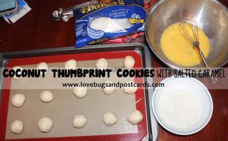 Coconut Thumbprint Cookies with Salted Caramel #TasteTheSeason