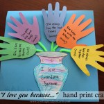 "Mother's Day ""I love you because..."" Hand print Craft on Lovebugsandpostcards.com"