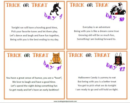 """12 Days of Halloween Romantic """"Trick or Treat"""" Cards"""