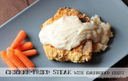Chicken fried steak with cornbread crust