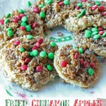 Fried Cinnamon Apples with a crumble topping, caramel and M&M's®