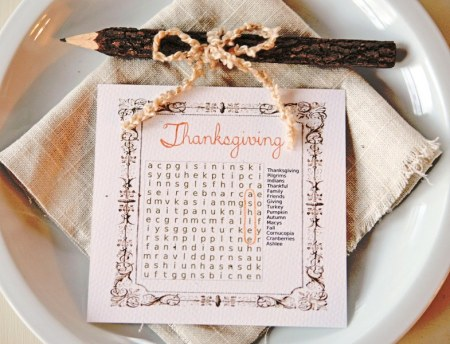 15 Thanksgiving Table Settings - Cross Word Puzzle