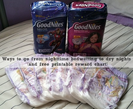 Ways to go from nighttime bedwetting to dry nights (and free printable reward chart)