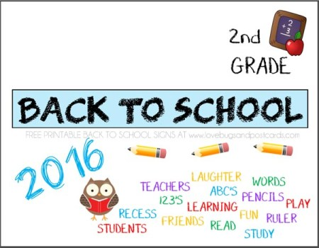 Printable Back to School signs Second Grade