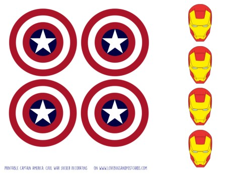 Printable Captain america: Civil War Sucker Decoratins on www.lovebugsandpostcards.com