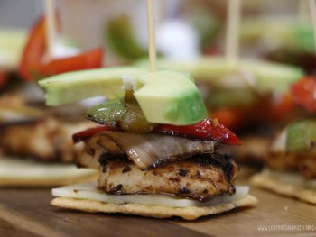 Mini chicken fajita's served on crackers