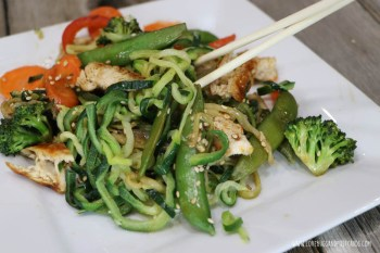 Zucchini Noodle Stir Fry Recipe made with Grilled Chicken