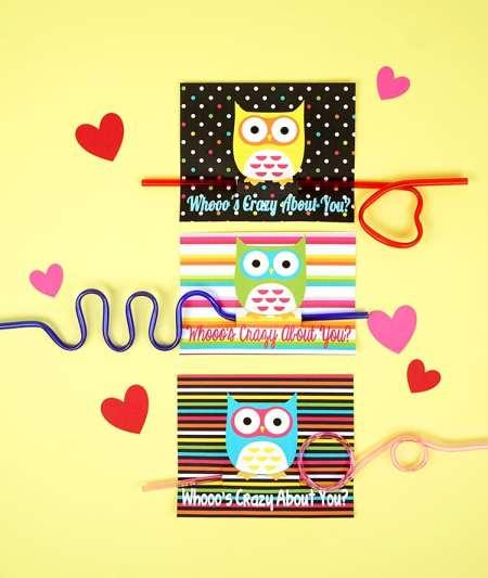 FREE Valentine's Printables - Owl Crazy Straw Valentine