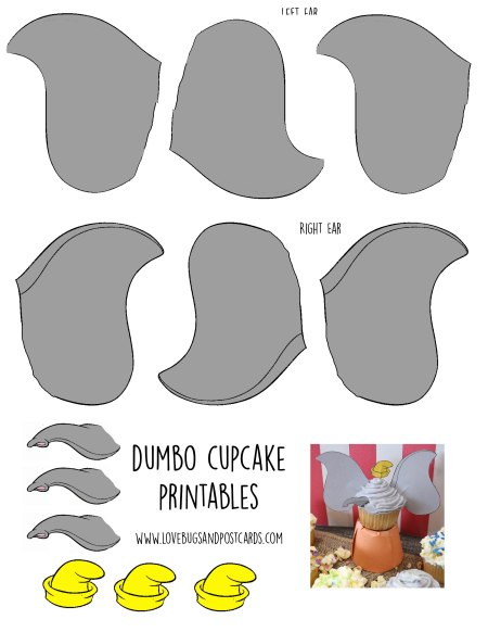 Dumbo Cupcakes Toppers Printable