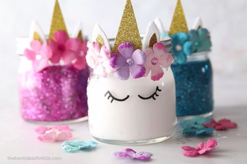 Unicorn Birthday Party Ideas - Unicorn Slime Jars
