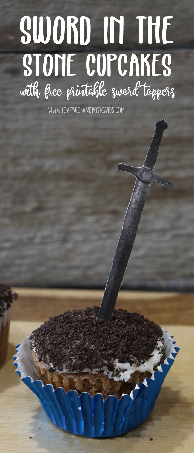 Sword in the Stone Cupcake Topper (with free printable swords)