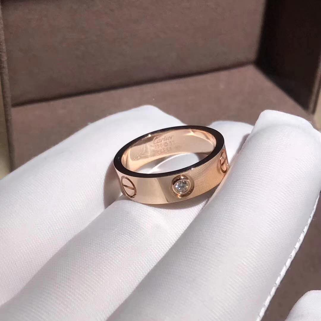 Inspired Cartier Love Wedding Band With One Diamond Pink Gold