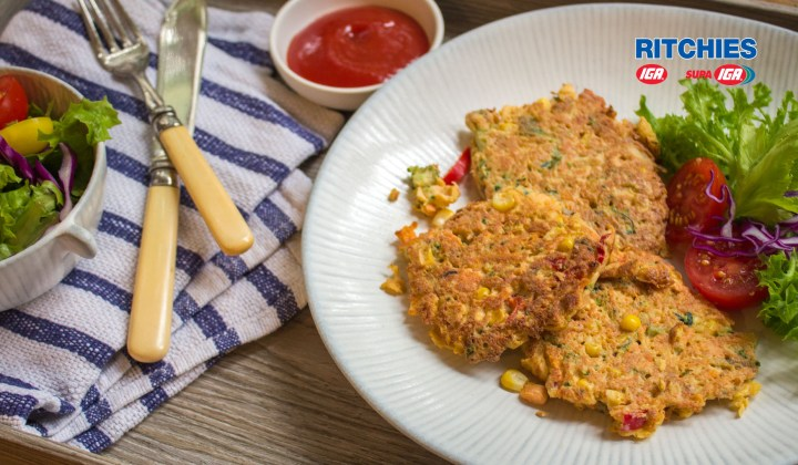 Low GI salmon vegetable fritters