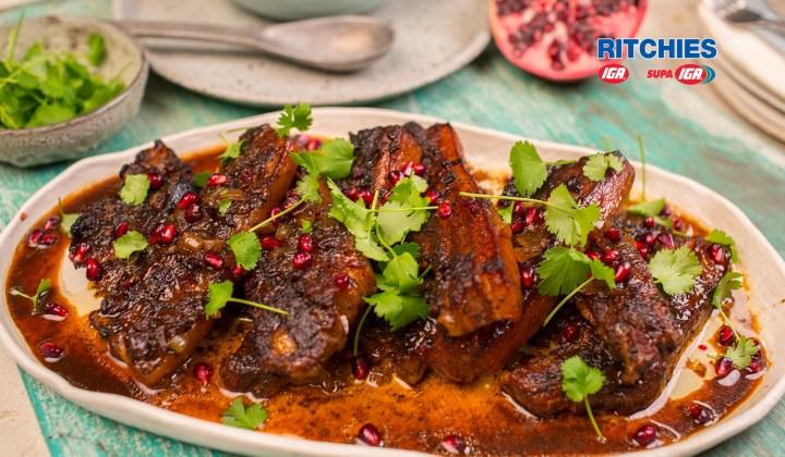 pomegranatebraised pork spare ribs
