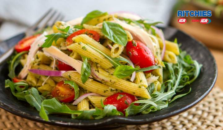 chicken pesto tomato pasta salad
