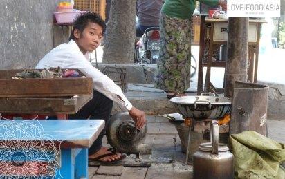 Boy making tea in Mandalay