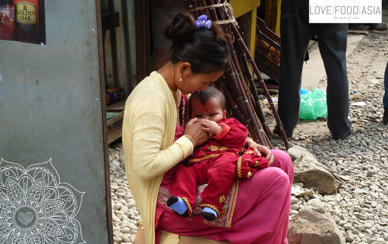 Woman and child in Kathmandu