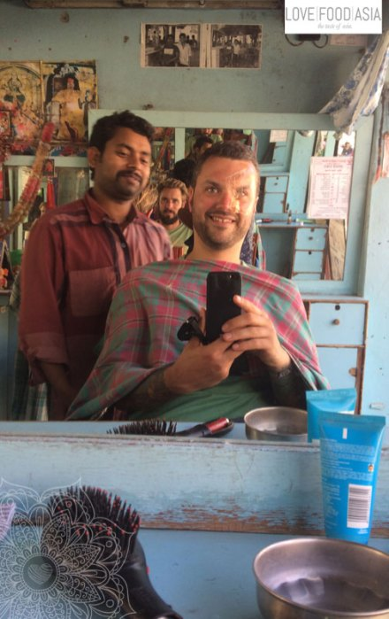 Me at the barber in Pokhara