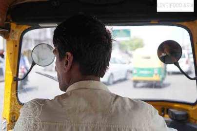 In der Rickscha in Indien