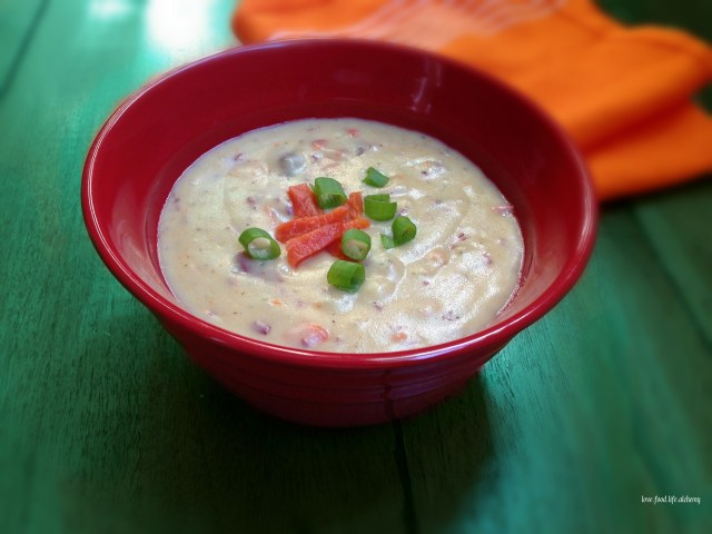roasted garlic salmon and potato soup