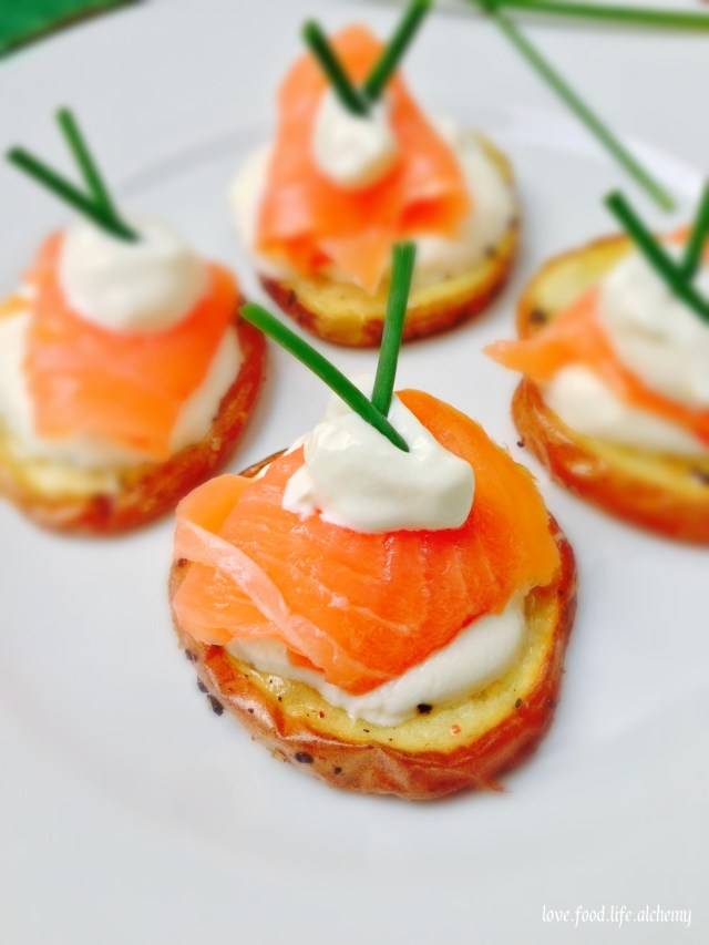 smoked salmon and potato bites