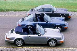 Porsche 911 Carrera 4 3.6 Cabriolet, 1990; (first: 911 Carrera 4 3.6 Cabriolet; second: 911 Carrera 4 3.6 Targa; third: 911 Carrera 4 3.6 Coupé)