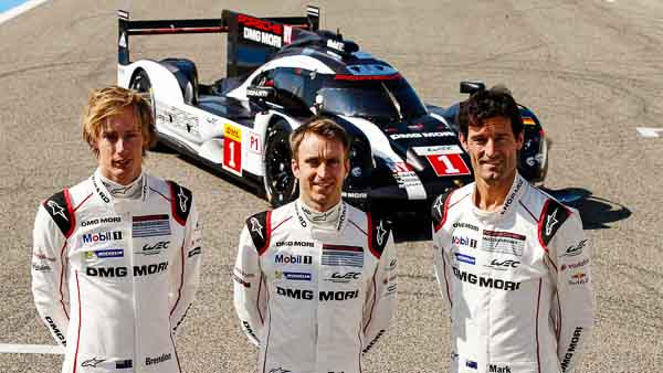 Porsche Team: Brendon Hartley, Timo Bernhard, Mark Webber (l-r)