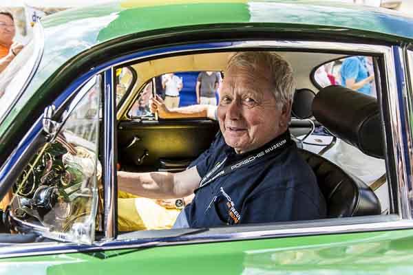 Dr. Wolfgang Porsche in a Porsche 356 C Carrera 2 Coupé