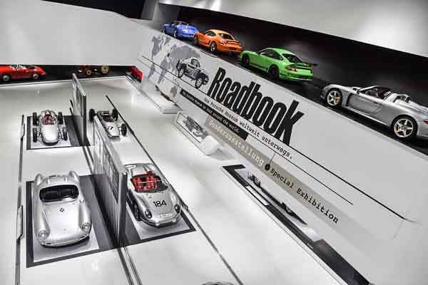 """Until April 23, 2017, the Porsche museum presents its new special exhibition """"Roadbook. The Porsche Museum on the road around the world""""."""