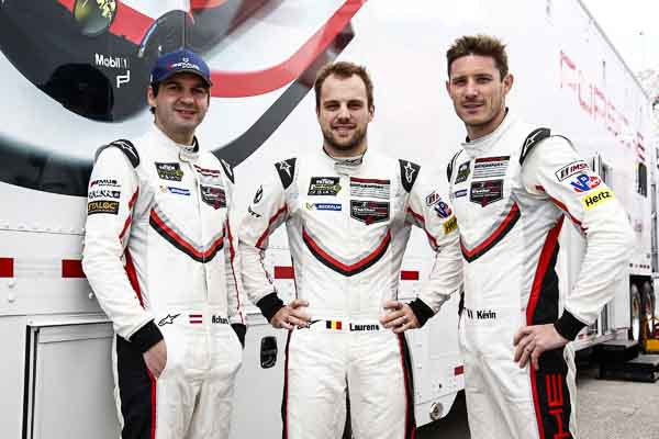 Porsche drivers : Richard Lietz, Laurens Vanthoor, Kevin Estre (l-r)