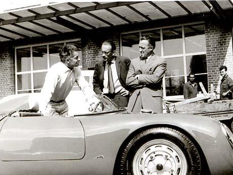 Herbert von Karajan - Richard von Frankenberg - unknown at the Porsche 550-0131