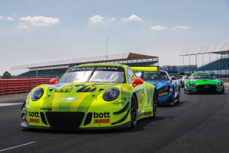 Manthey-Racing, Porsche 911 GT3 R (911), Romain Dumas (F), Frederic Makowiecki (F), Dirk Werner (D), Blancpain GT Silverstone 2018