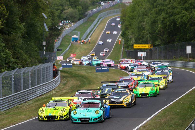 Manthey-Racing, Porsche 911 GT3 R (911), Kevin Estre (F), Romain Dumas (F), Laurens Vanthoor (B), Earl Bamber (NZ), Falken Motorsports, Porsche 911 GT3 R (44), Klaus Bachler (A), Sven Müller (D), Martin Ragginger (A), Dirk Werner (D), Nürburgring 2018
