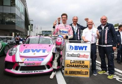 Julien Andlauer wins season finale of the Porsche Mobil 1 Supercup : Micharel Ammermüller celebrates championship title